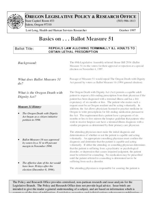 "This archived document is maintained by the Oregon State Library as part of the Oregon Documents Depository Program.  It is for informational purposes and may not be suitable for legal purposes., Title from PDF caption (viewed on December 3, 2014), ""The 69th Legislative Assembly referred House Bill 2954 (Ballot Measure 51) to the voters for their approval or rejection at a special election on November 4, 1997""--Page 1, Includes bibliographical references, Mode of access: Internet from the Oregon Government Publications Collection., Text in English"