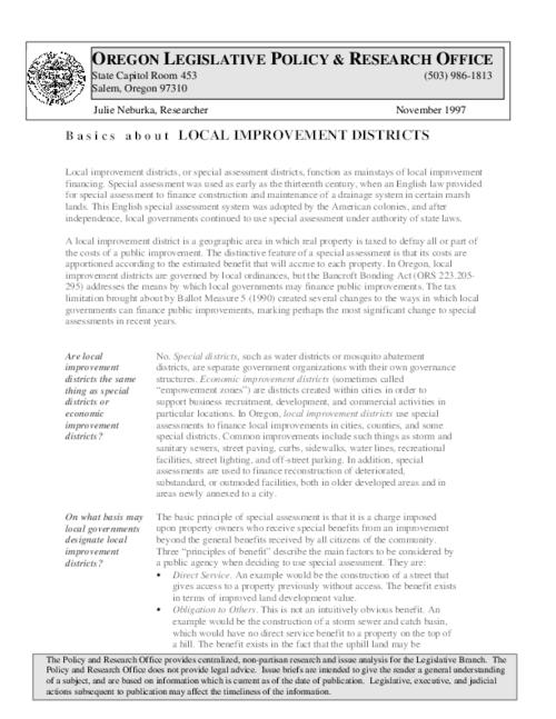"This archived document is maintained by the Oregon State Library as part of the Oregon Documents Depository Program.  It is for informational purposes and may not be suitable for legal purposes., Title from PDF caption (viewed on December 3, 2014), ""A local improvement district is a geographic area in which real property is taxed to defray all or part of the costs of a public improvement""--Page 1, Mode of access: Internet from the Oregon Government Publications Collection., Text in English"
