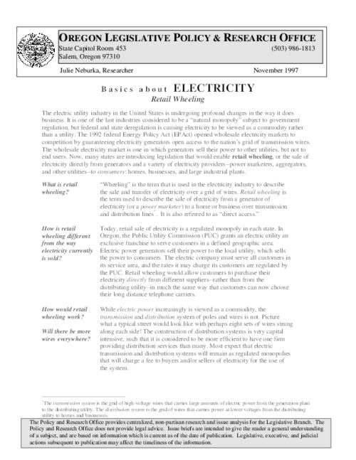 This archived document is maintained by the Oregon State Library as part of the Oregon Documents Depository Program.  It is for informational purposes and may not be suitable for legal purposes., Title from PDF caption (viewed on December 3, 2014), Includes bibliographical references (page 5), Mode of access: Internet from the Oregon Government Publications Collection., Text in English