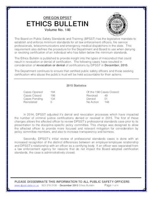 Oregon DPSST ethics bulletin | Oregon State Library