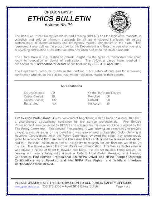 Oregon DPSST ethics bulletin - Volume 79 (April 2010) | Oregon State ...