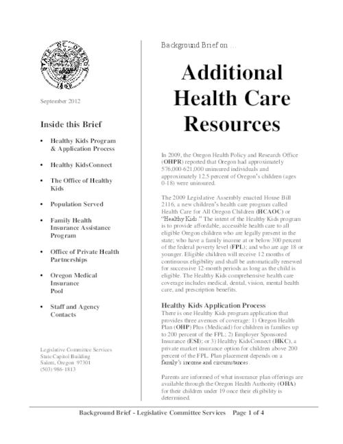 This archived document is maintained by the Oregon State Library as part of the Oregon Documents Depository Program.  It is for informational purposes and may not be suitable for legal purposes., Title from PDF caption (viewed on October 14, 2014), Overview of programs to help Oregonians without medical insurance including the Healthy Kids program, Mode of access: Internet from the Oregon Government Publications Collection., Text in English