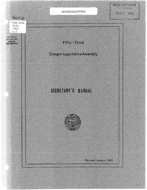 "This archived document is maintained by the Oregon State Library as part of the Oregon Documents Depository Program.  It is for informational purposes and may not be suitable for legal purposes., At head of title: Fifty-third Oregon Legislative Assembly, ""Revised January 1965."", Mode of access: Internet from the Oregon Government Publications Collection."