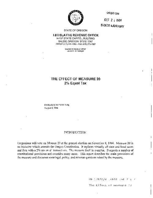 "This archived document is maintained by the Oregon State Library as part of the Oregon Documents Depository Program.  It is for informational purposes and may not be suitable for legal purposes., ""August 4, 1994."", Cover title, Mode of access: Internet from the Oregon Government Publications Collection."