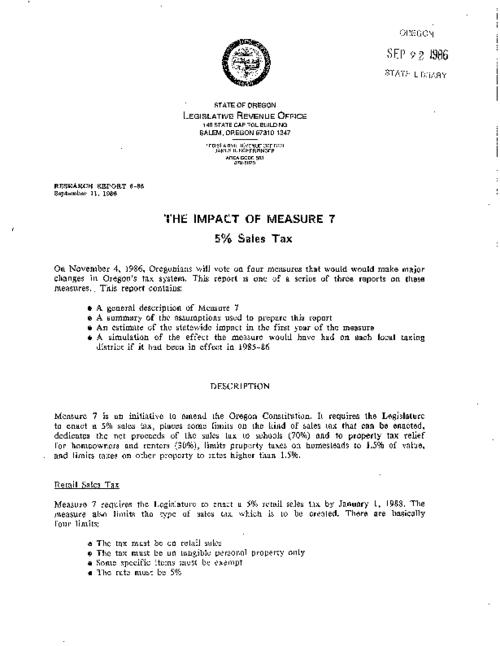 "This archived document is maintained by the Oregon State Library as part of the Oregon Documents Depository Program.  It is for informational purposes and may not be suitable for legal purposes., ""September 11, 1986."", Title from caption, Mode of access: Internet from the Oregon Government Publications Collection."