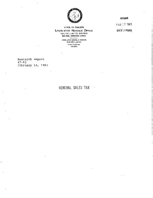 "This archived document is maintained by the Oregon State Library as part of the Oregon Documents Depository Program.  It is for informational purposes and may not be suitable for legal purposes., ""February 14, 1983."", Title from cover, Mode of access: Internet from the Oregon Government Publications Collection."