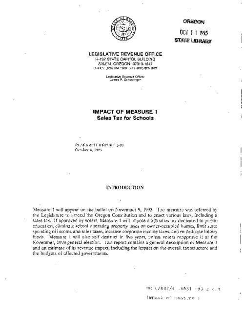 "This archived document is maintained by the Oregon State Library as part of the Oregon Documents Depository Program.  It is for informational purposes and may not be suitable for legal purposes., ""October 4, 1993."", Title from caption, Mode of access: Internet from the Oregon Government Publications Collection."