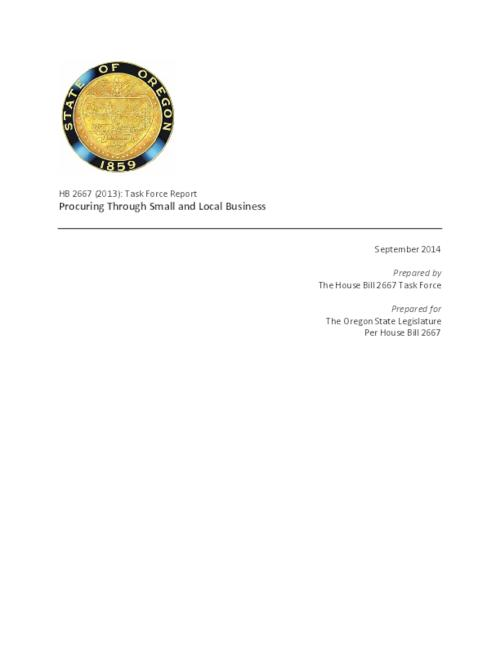 This archived document is maintained by the Oregon State Library as part of the Oregon Documents Depository Program.  It is for informational purposes and may not be suitable for legal purposes., Title from PDF cover (viewed on August 22, 2014), The Task Force was created with the directive of studying public contract awards to minority-owned, woman-owned or emerging small businesses (MWESB)  in the state of Oregon, Mode of access: Internet from the Oregon Government Publications Collection., Text in English