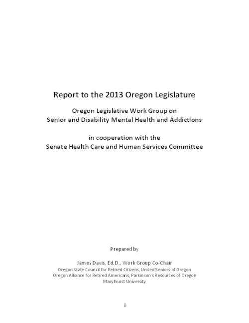 "This archived document is maintained by the Oregon State Library as part of the Oregon Documents Depository Program.  It is for informational purposes and may not be suitable for legal purposes., Title from PDF cover (viewed on August 28, 2014), ""...to look into mental health and chemical dependency problems, as well as the lack of access to needed services, for seniors and people with disabilities""-Page 1, Includes bibliographical references (pages 33-35), Mode of access: Internet from the Oregon Government Publications Collection., Text in English"