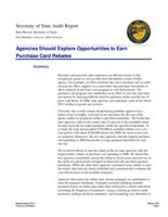 Agencies should explore opportunities to earn purchase card rebates, Purchase...