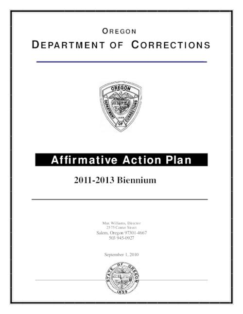 Affirmative Action Plan  Oregon State Library