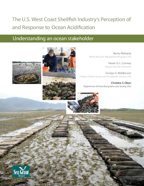 Although state lines determine regulations within the U.S. west coast shellfish industry, we found that stakeholder perspectives were not influenced by state boundaries. Our findings reflect all three states and all types of shellfish producers: (1) Approximately half of the industry has personally experienced negative impacts from ocean acidification. (2) The vast majority believes OA is happening globally, regionally, and locally. (3) The shellfish industry's understanding of OA and concern for the problem is fairly advanced. (4) Industry participants and OA researchers share comparable recognition of the timescales in which natural processes change nearshore water chemistry, highlighting coherence between the groups based on vastly different approaches and backgrounds. (5) Greater than 80 percent of the shellfish industry noted that OA will have consequences today, approximately four times higher than the public's perception of the threat. The contrasting levels of concern for OA consequences between industry and the public appears to be driven by differences in economic investment in natural resources and perceived and realized impacts. (6) The most useful information to inform shellfish business decisions is primarily obtained locally and through straightforward resources. Tide charts are the most useful information source, followed by interactions with other shellfish operations and on-site measurements/observations. (7) Measurements of water chemistry related to ocean acidification, such as pH, appear to be more useful to hatcheries than to growers. (8) There is great potential for further partnership and data sharing between scientists and industry. However, barriers do exist and should be addressed. (9) Participants from all three states expressed guarded optimism on adaptability to ocean acidification., This archived document is maintained by the State Library of Oregon as part of the Oregon Documents Depository Program. It is for informational purposes and may not be suitable for legal purposes., Includes bibliographical references (pages 19-21)., This report was prepared by Oregon Sea Grant under award number NA10OAR4170059 from the National Oceanic and Atmospheric Administration's National Sea Grant College Program, U.S. Department of Commerce, and by appropriations made by the Oregon State Legislature.