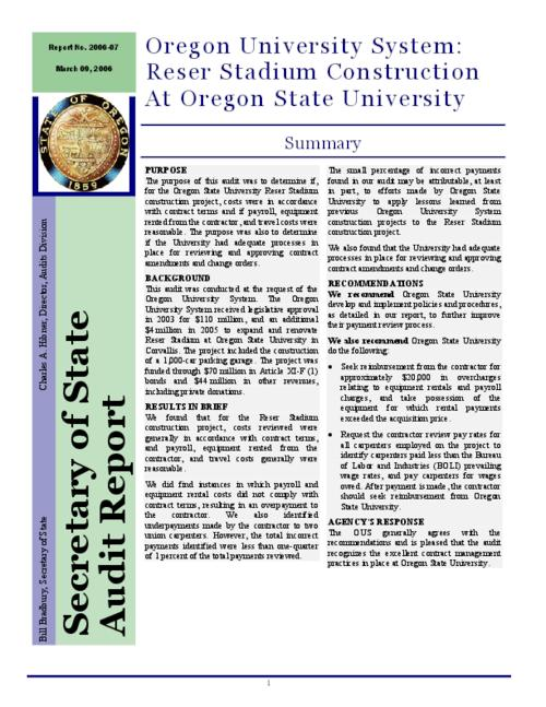 "This archived document is maintained by the Oregon State Library as part of the Oregon Documents Depository Program.  It is for informational purposes and may not be suitable for legal purposes., Title from caption, ""Report no. 2006-07."", ""March 09, 2006."", ""Summary."", OrDocs shipping list 2006-05, Mode of access: Internet from the Oregon Government Publications Collection."