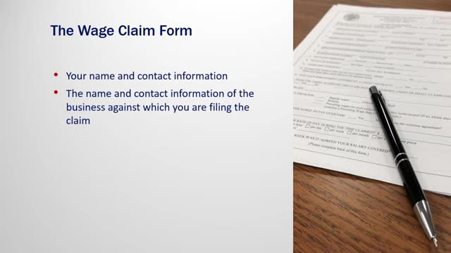 Filling out the wage claim form: useful tips for wage claimants, Useful tips...