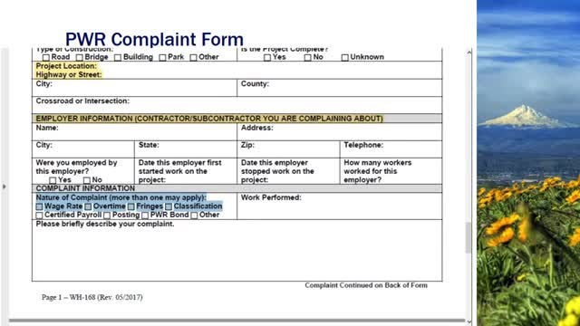 How to file a prevailing wage rate complaint