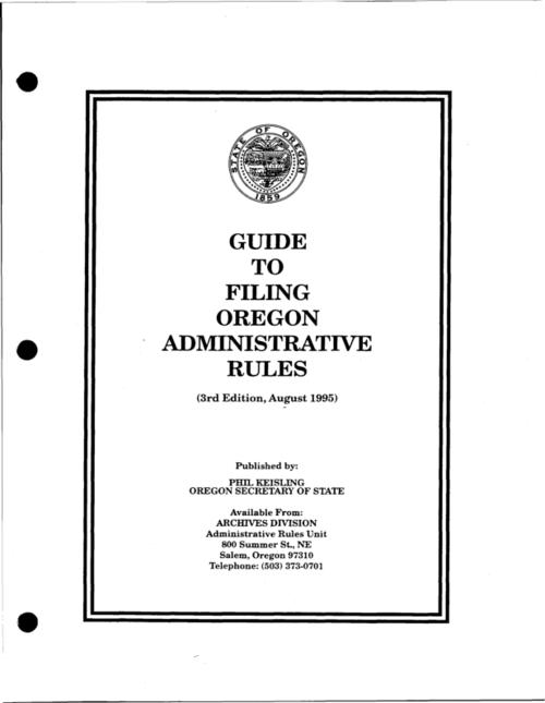 "This archived document is maintained by the Oregon State Library as part of the Oregon Documents Depository Program.  It is for informational purposes and may not be suitable for legal purposes., ""August 1995."", Title from cover, Mode of access: Internet from the Oregon Government Publications Collection."