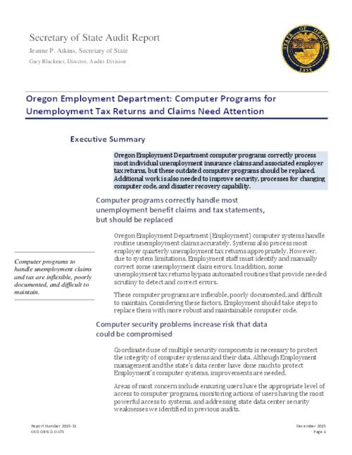 This archived document is maintained by the Oregon State Library as part of the Oregon Documents Depository Program.  It is for informational purposes and may not be suitable for legal purposes., Title from PDF caption (viewed on January 5, 2016)., Includes a letter of response from Lisa Nisenfeld, Director, Employment Department., Mode of access: Internet from the Oregon Government Publications Collection., Text in English.