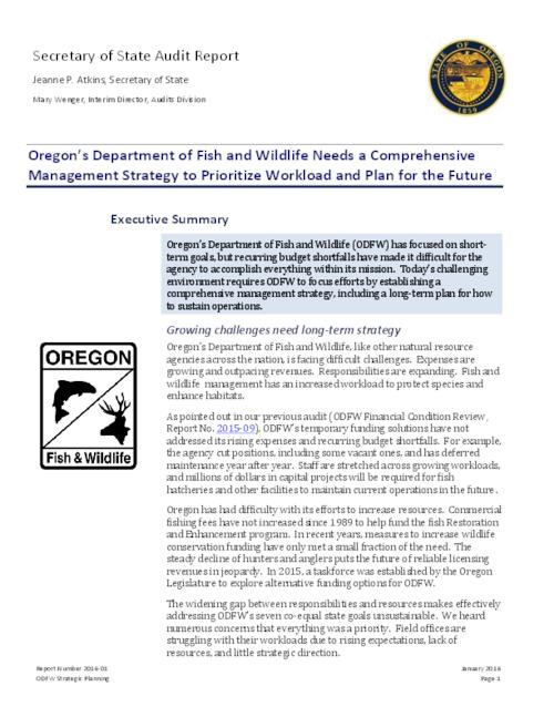 This archived document is maintained by the Oregon State Library as part of the Oregon Documents Depository Program.  It is for informational purposes and may not be suitable for legal purposes., Title from PDF caption (viewed on January 11, 2016)., Includes a letter of response from Curtis E. Melcher, Director, Department of Fish and Wildlife., Mode of access: Internet from the Oregon Government Publications Collection., Text in English.