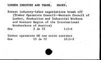 Lumber Industry and Trade. Wages - Lumber Shipments