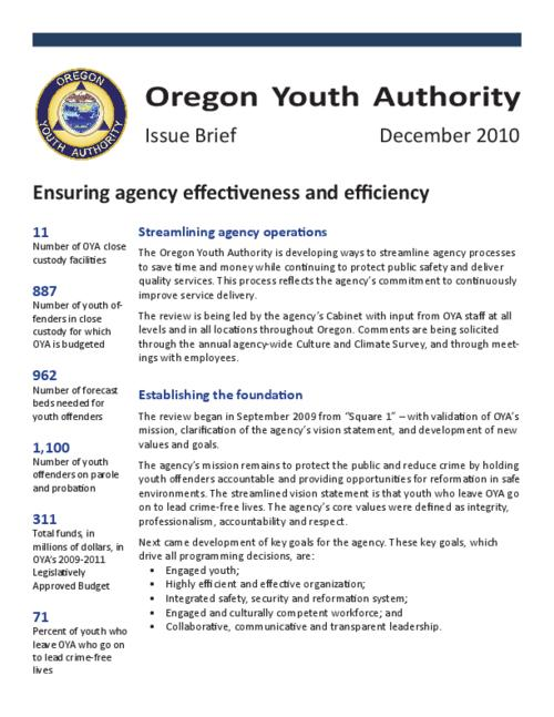 "This archived document is maintained by the Oregon State Library as part of the Oregon Documents Depository Program.  It is for informational purposes and may not be suitable for legal purposes., Title from PDF title page (viewed on Mar.21, 2011), ""December 2010."", Mode of access: Internet from the Oregon Government Publications Collection."