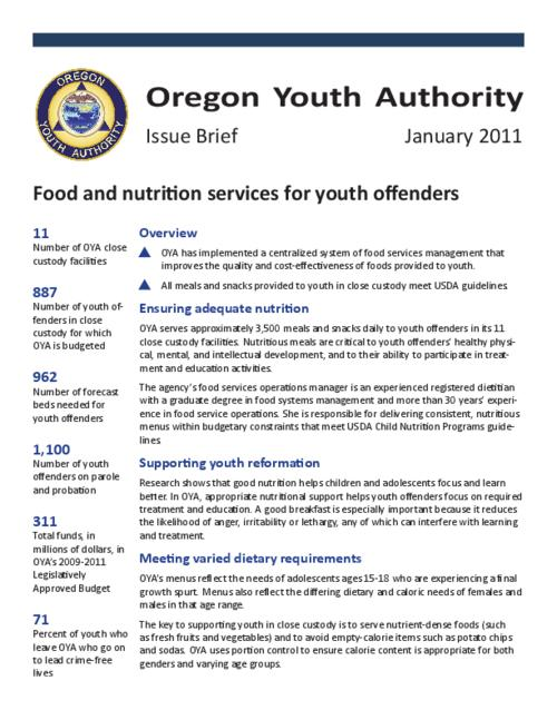 "This archived document is maintained by the Oregon State Library as part of the Oregon Documents Depository Program.  It is for informational purposes and may not be suitable for legal purposes., Title from PDF title page (viewed on Mar.21, 2011), ""January 2011."", Mode of access: Internet from the Oregon Government Publications Collection."