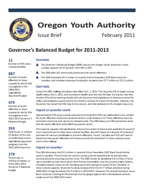"This archived document is maintained by the Oregon State Library as part of the Oregon Documents Depository Program.  It is for informational purposes and may not be suitable for legal purposes., Title from PDF title page (viewed on Mar. 21, 2011), ""February 2011."", Mode of access: Internet from the Oregon Government Publications Collection."