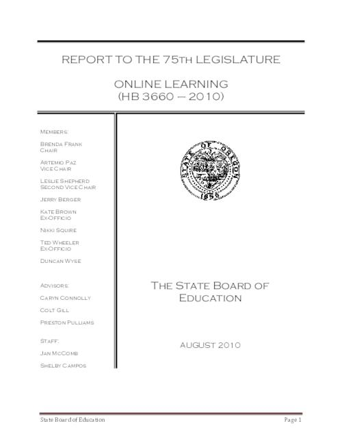 "Title from PDF cover (viewed on January 14, 2019)., ""HB 3660 (2010) directed the State Board of Education to develop a proposed governance model for virtual public schools and virtual public charter schools; to review appropriate levels and methods of funding for such schools; to identify which virtual public schools and virtual public charter schools enrolled students with disabilities; and to review participation rates of students with disabilities""--Page 1., This archived document is maintained by the State Library of Oregon as part of the Oregon Documents Depository Program. It is for informational purposes and may not be suitable for legal purposes., Includes bibliographical references., Mode of access: Internet from the Oregon Government Publications Collection., Text in English."