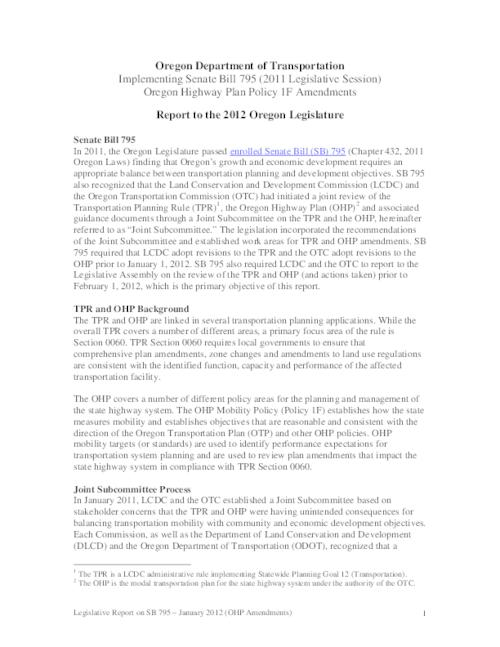 "Title from PDF caption (viewed on January 14, 2019)., ""In 2011, the Oregon Legislature passed enrolled Senate Bill (SB) 795 (chapter 432, 2011 Oregon Laws) finding that Oregon's growth and economic development requires an appropriate balance between transportation planning and development objectives."", This archived document is maintained by the State Library of Oregon as part of the Oregon Documents Depository Program. It is for informational purposes and may not be suitable for legal purposes., Includes bibliographical references., Mode of access: Internet from the Oregon Government Publications Collection., Text in English."