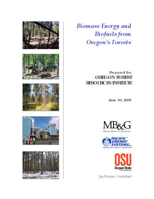 "This archived document is maintained by the Oregon State Library as part of the Oregon Documents Depository Program.  It is for informational purposes and may not be suitable for legal purposes., Title from cover, ""June 30, 2006."", ""The OFRI Board and staff appreciate the thorough and professional work done by the Bio-Energy project team including researchers and analysts from Mason, Bruce & Girard, Inc. ; Pacific Energy Systems, Inc.; OSU Colleges of Forestry and Agricultural Sciences; and Dr. Jim Bowyer.  We also appreciate the input of the Oregon Forest Biomass Working Group""-- preface, OrDocs shipping list 2007-10, Mode of access: Internet from the Oregon Government Publications Collection."