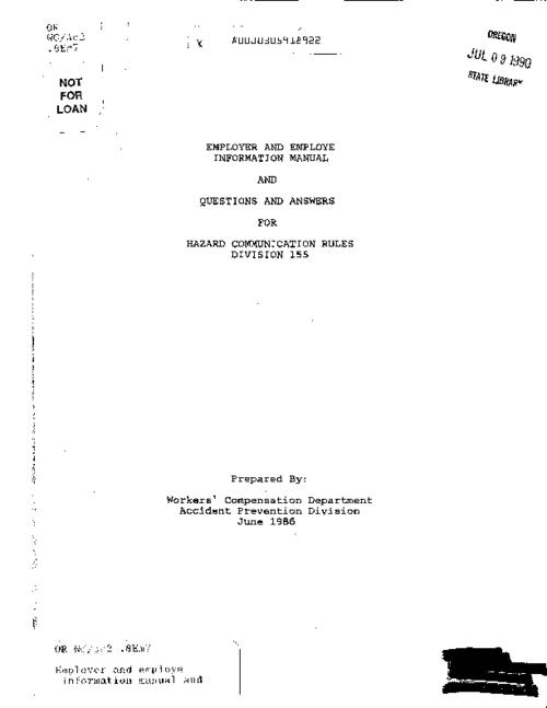 "This archived document is maintained by the Oregon State Library as part of the Oregon Documents Depository Program.  It is for informational purposes and may not be suitable for legal purposes., ""June 1986."", Title from cover, Mode of access: Internet from the Oregon Government Publications Collection."