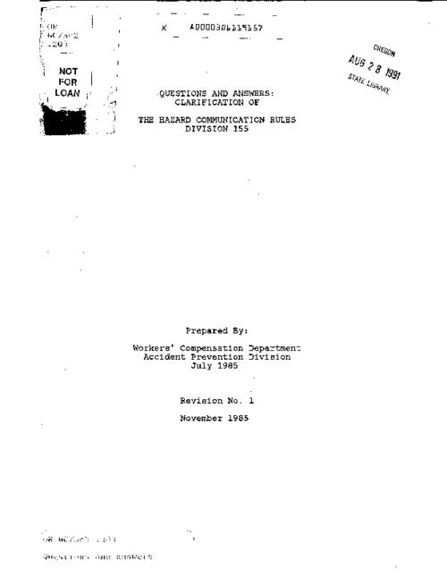 "This archived document is maintained by the Oregon State Library as part of the Oregon Documents Depository Program.  It is for informational purposes and may not be suitable for legal purposes., ""November 1985."", ""Revision no. 1."", Title from cover, Mode of access: Internet from the Oregon Government Publications Collection."