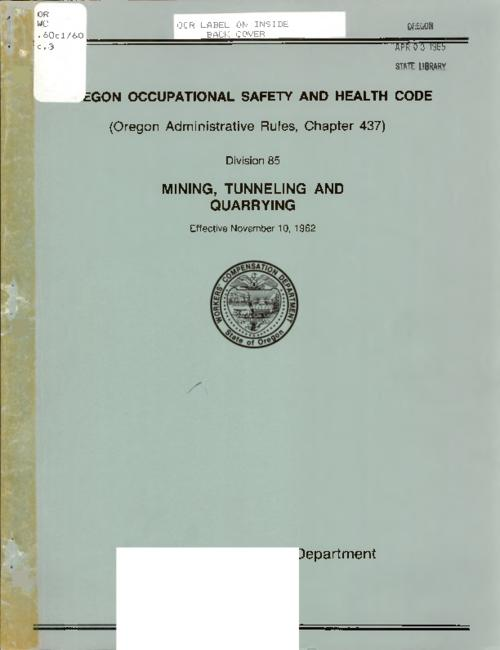"This archived document is maintained by the Oregon State Library as part of the Oregon Documents Depository Program.  It is for informational purposes and may not be suitable for legal purposes., ""Oregon Administrative Rules, Chapter 437, Division 85 ... effective November 10, 1962."", Title from cover, Mode of access: Internet from the Oregon Government Publications Collection."