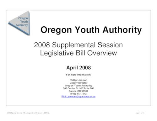 "This archived document is maintained by the Oregon State Library as part of the Oregon Documents Depository Program.  It is for informational purposes and may not be suitable for legal purposes., Title from PDF caption (viewed on Apr. 25, 2011), ""April 2008."", Mode of access: Internet from the Oregon Government Publications Collection."