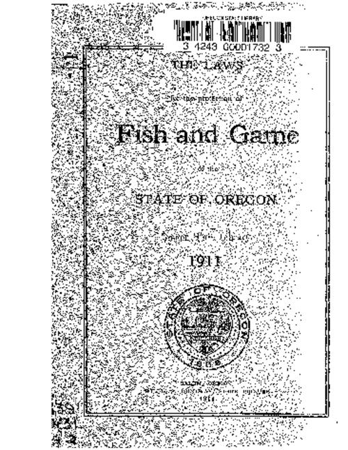 Laws for the protection of fish and game oregon state for Oregon fish and game