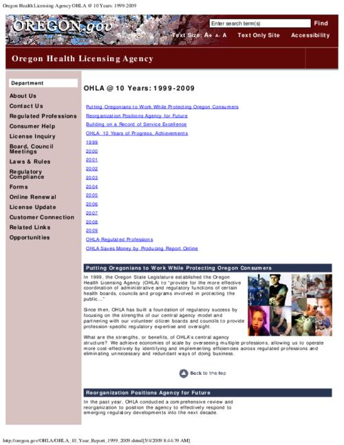 "This archived document is maintained by the Oregon State Library as part of the Oregon Documents Depository Program.  It is for informational purposes and may not be suitable for legal purposes., Title from PDF caption (viewed on June 20, 2011), Converted from HTML, ""Page updated: March 30, 2009."", Mode of access: Internet from the Oregon Government Publications Collection."