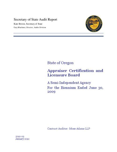 State of Oregon, Appraiser Certification and Licensure Board, a semi ...