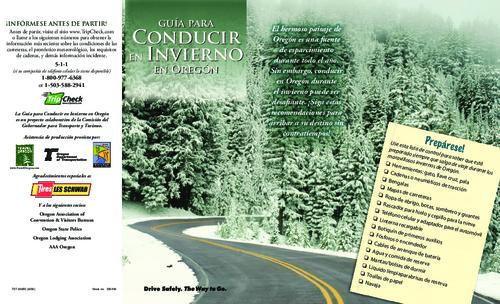 "This archived document is maintained by the Oregon State Library as part of the Oregon Documents Depository Program.  It is for informational purposes and may not be suitable for legal purposes., Translation of: Oregon winter driving guide, Title from PDF caption (viewed on Nov. 9, 2009), ""La Guía para Conducir en Invierno en Oregón es un proyecto colaborativo de la Comisión del Gobernador para Transporte y Turismo."", ""737-3395S (9/09)."", Mode of access: Internet from the Oregon Government Publications Collection."