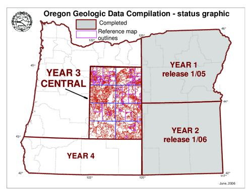 "Map includes text that describes the map units and discusses the compilation of the spatial database of geographic information system (GIS) files depicting the surface geology of the area, This archived document is maintained by the Oregon State Library as part of the Oregon Documents Depository Program.  It is for informational purposes and may not be suitable for legal purposes., ""This geologic map was funded in part by the USGS National Cooperative Geologic Mapping Program.  Additional funding came from the State of Oregon, the USDA Forest Service, and the U.S. Bureau of Land Management, Includes bibliographic references, Mode of access: Internet from the Oregon Government Publications Collection., Text in English."