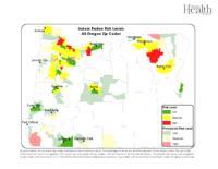 Indoor radon risk levels. All Oregon zip codes, All Oregon zip codes