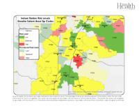 Indoor radon risk levels. Greater Salem area zip codes, Greater Salem area zip...