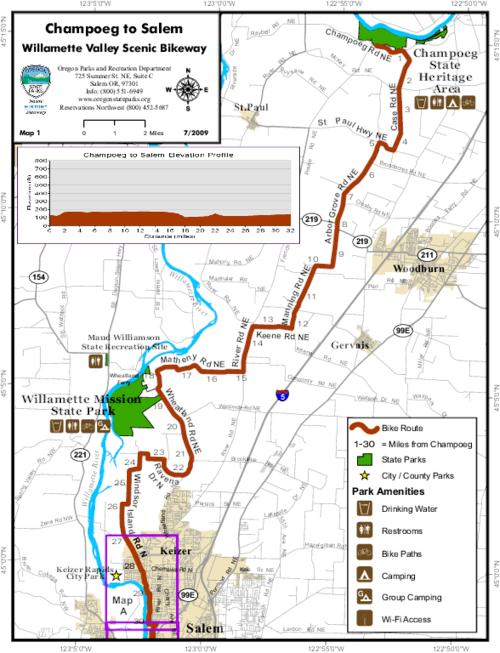 Willamette Valley Scenic Bikeway - Champoeg to Salem - Map 1 ...