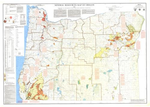 "This archived document is maintained by the Oregon State Library as part of the Oregon Documents Depository Program.  It is for informational purposes and may not be suitable for legal purposes., ""Funded in part by the U.S. Bureau of Land Management and the U.S. Forest Service, Base map by U.S. Geological Survey, Includes text, tables, inset map of ""Production of metallic and energy minerals in Oregon by region"" and inset map ""Diagram of township and range system, U.S. public land survey."", Includes bibliographical references, Mode of access: Internet from the Oregon Government Publications Collection., Text in English."