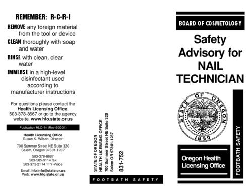 "This archived document is maintained by the Oregon State Library as part of the Oregon Documents Depository Program.  It is for informational purposes and may not be suitable for legal purposes., Title from PDF caption (viewed on Aug. 31, 2012), ""Publication HLO-44 (Rev 6/2001)."", At head of title: Board of Cosmetology, Mode of access: Internet from the Oregon Government Publications Collection."