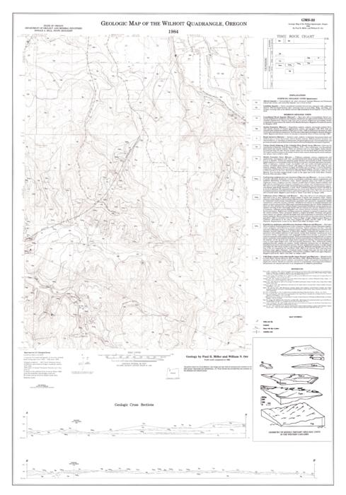 "This archived document is maintained by the Oregon State Library as part of the Oregon Documents Depository Program.  It is for informational purposes and may not be suitable for legal purposes., Base map by U.S. Geological Survey, Includes ancillary location map, text, ""Time rock chart"" and ""Geometry of middle tertiary geologic units in the Western Cascades."", Relief shown by contours, Mode of access: Internet from the Oregon Government Publications Collection., Text in English."