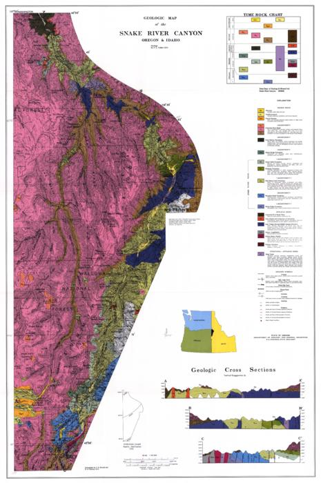 "This archived document is maintained by the Oregon State Library as part of the Oregon Documents Depository Program.  It is for informational purposes and may not be suitable for legal purposes., ""Base map from AMS 1:250,000 topographic series: Grangeville sheet Idaho, Oregon, Wash. 1955 and Baker sheet Oregon, Idaho 1955. Sheets joined by Menlo Park Base Map Unit, U S G S, 11-72(8-32)"", ""Cartography by S.R. Renoud and W.H. Pokorny 1973."", Accompanied by text: A preliminary report on the geology of part of the Snake River Canyon, Oregon and Idaho (15 p. : ill. ; 28 cm.), Includes ""Time rock chart, "" explanation of color shading and symbols used on map, and 3 geologic cross sections, Relief shown by contours and spot heights. Geologic formations shown by color shadings, Mode of access: Internet from the Oregon Government Publications Collection., Text in English."