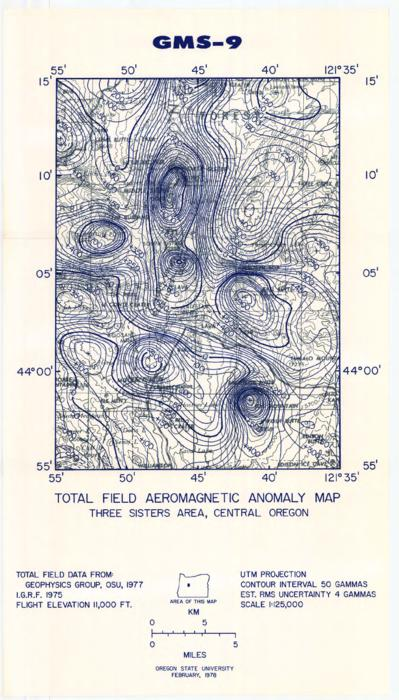 This archived document is maintained by the Oregon State Library as part of the Oregon Documents Depository Program.  It is for informational purposes and may not be suitable for legal purposes., Includes Total field aeromagnetic anomaly map, Three Sisters area, central Oregon, Universal transverse Mercator projection, Mode of access: Internet from the Oregon Government Publications Collection., Text in English.