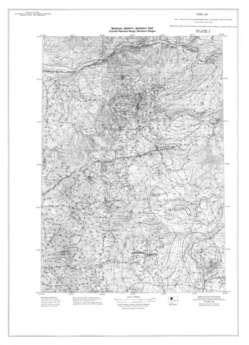 plate 1. Residual gravity anomaly map Cascade Mountain Range, northern Oregon -- plate 2. Residual gravity anomaly map Cascade Mountain Range, central Oregon -- plate 3. Residual gravity anomaly map Cascade Mountain Range, southern Oregon, This archived document is maintained by the Oregon State Library as part of the Oregon Documents Depository Program.  It is for informational purposes and may not be suitable for legal purposes., Includes location map, Relief shown by contours and spot heights, Title from container, Mode of access: Internet from the Oregon Government Publications Collection., Text in English.