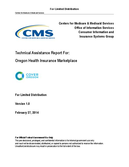 "Provides the findings and recommendations from the Centers for Medicare and Medicaid Services (CMS) State Engagement (SE) Team's review and assessment of the Cover Oregon (CO) HIX System. Contains the approach used for capturing observations based on inputs from the CO stakeholders and provides suggested actions to CO on how to improve specific areas of the system engineering solution, This archived document is maintained by the Oregon State Library as part of the Oregon Documents Depository Program.  It is for informational purposes and may not be suitable for legal purposes., Title from PDF cover (viewed on March 21, 2014), ""For Limited Distribution."", Mode of access: Internet from the Oregon Government Publications Collection., Text in English"