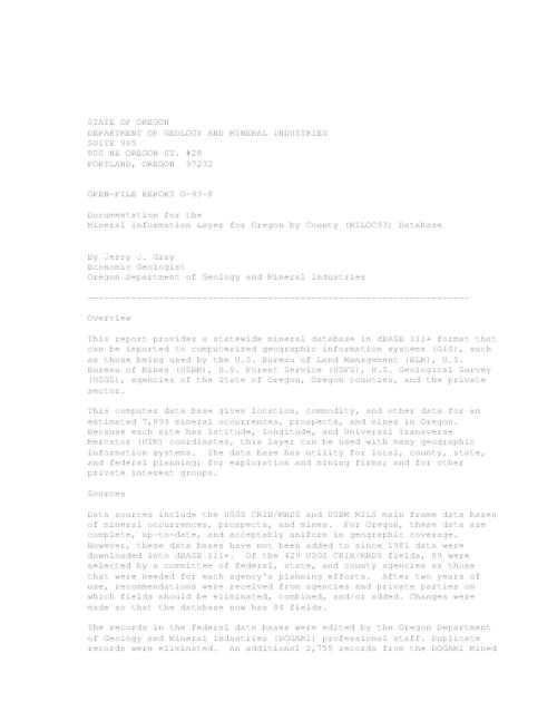 This archived document is maintained by the Oregon State Library as part of the Oregon Documents Depository Program.  It is for informational purposes and may not be suitable for legal purposes., Title from disk label, Mode of access: Internet from the Oregon Government Publications Collection.