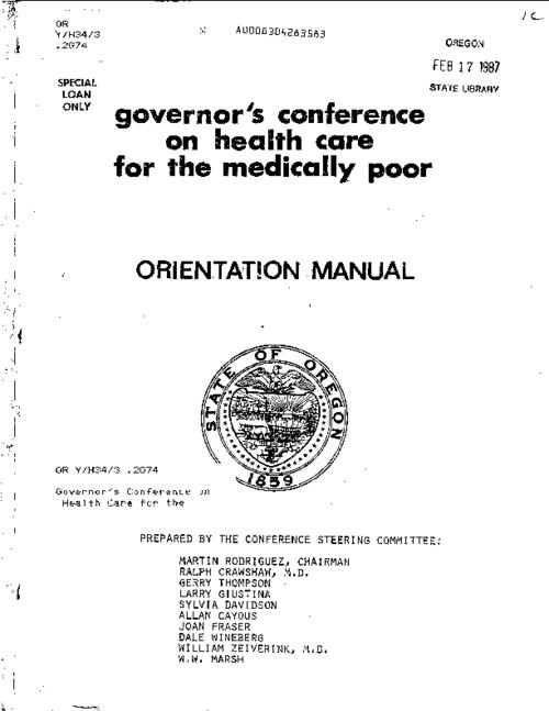 "This archived document is maintained by the Oregon State Library as part of the Oregon Documents Depository Program.  It is for informational purposes and may not be suitable for legal purposes., ""Janaury 5, 1982""--Cover letter, Co-sponsored by the Oregon State Health Planning and Development Agency, Includes bibliographical references, Mode of access: Internet from the Oregon Government Publications Collection."
